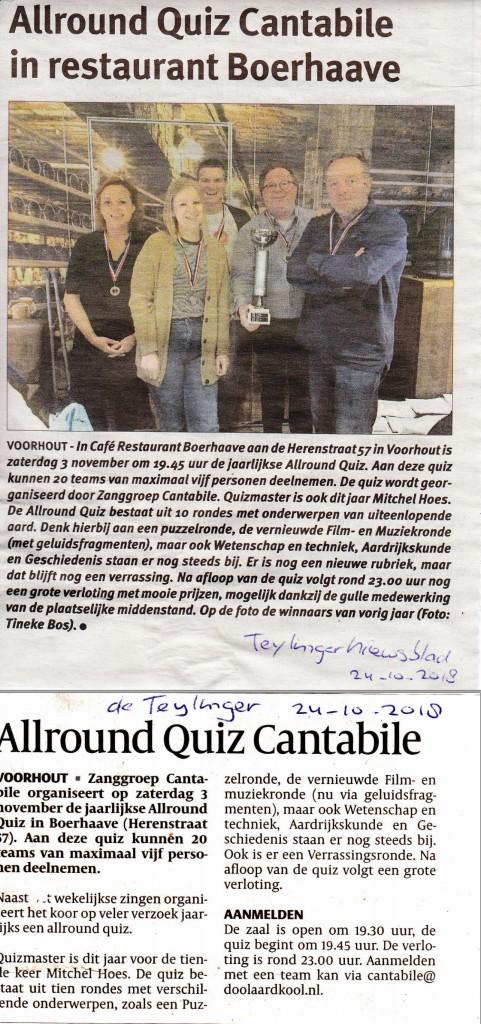 ARQ aankondiging krant