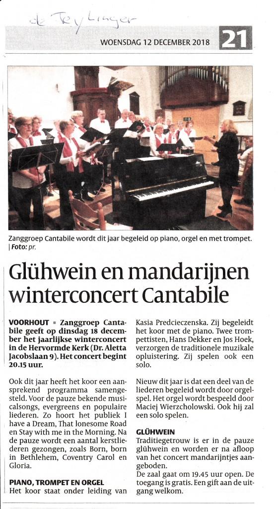 2018 Winterconcert krant